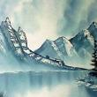 Winterlandschaft mit See und Bergen * vergrößern