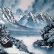 Winterlandschaft mit Hütte am See * vergrößern