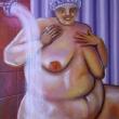 Frau hinter dem Duschstrahl * vergrößern