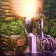 Holzhütte am Wasserfall * vergrößern